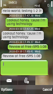 Free isms, threaded text message on nokia s60 nick chan dot net.