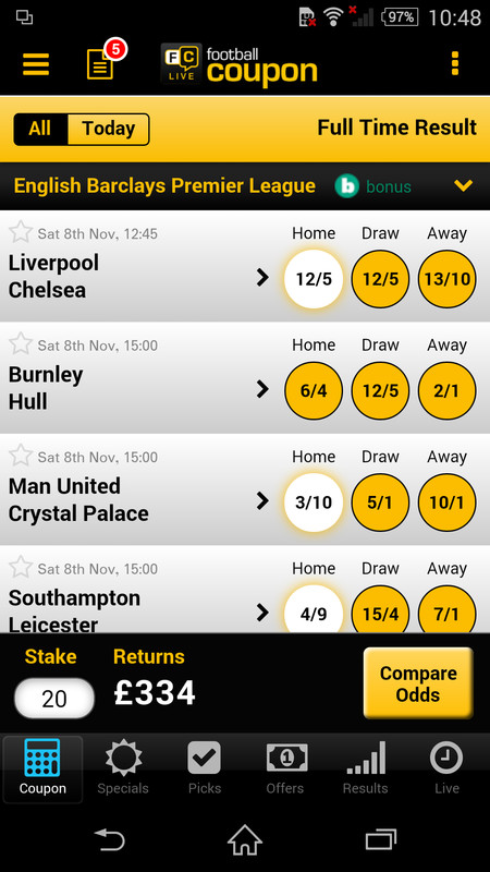 Football coupon checker app