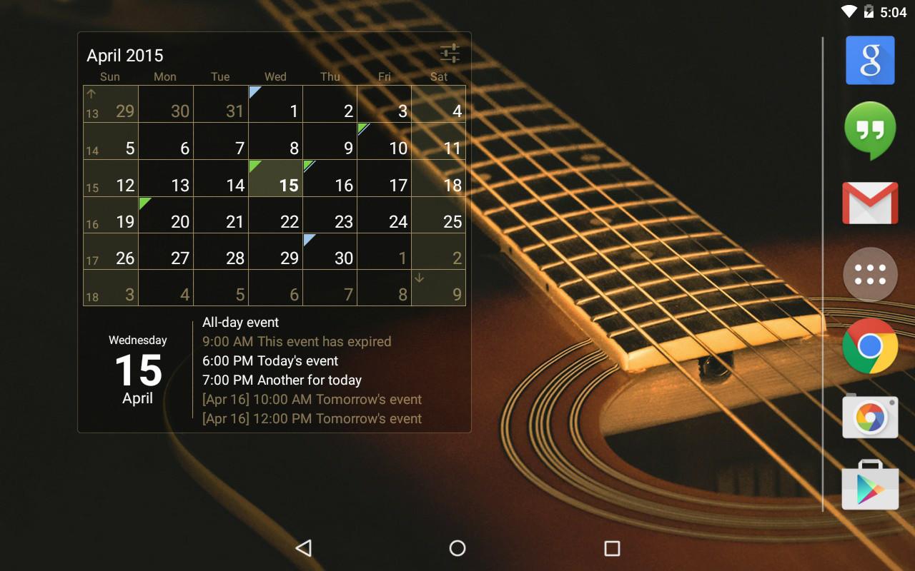 Calendar Widget Month + Agenda Free Samsung Galaxy Y Duos