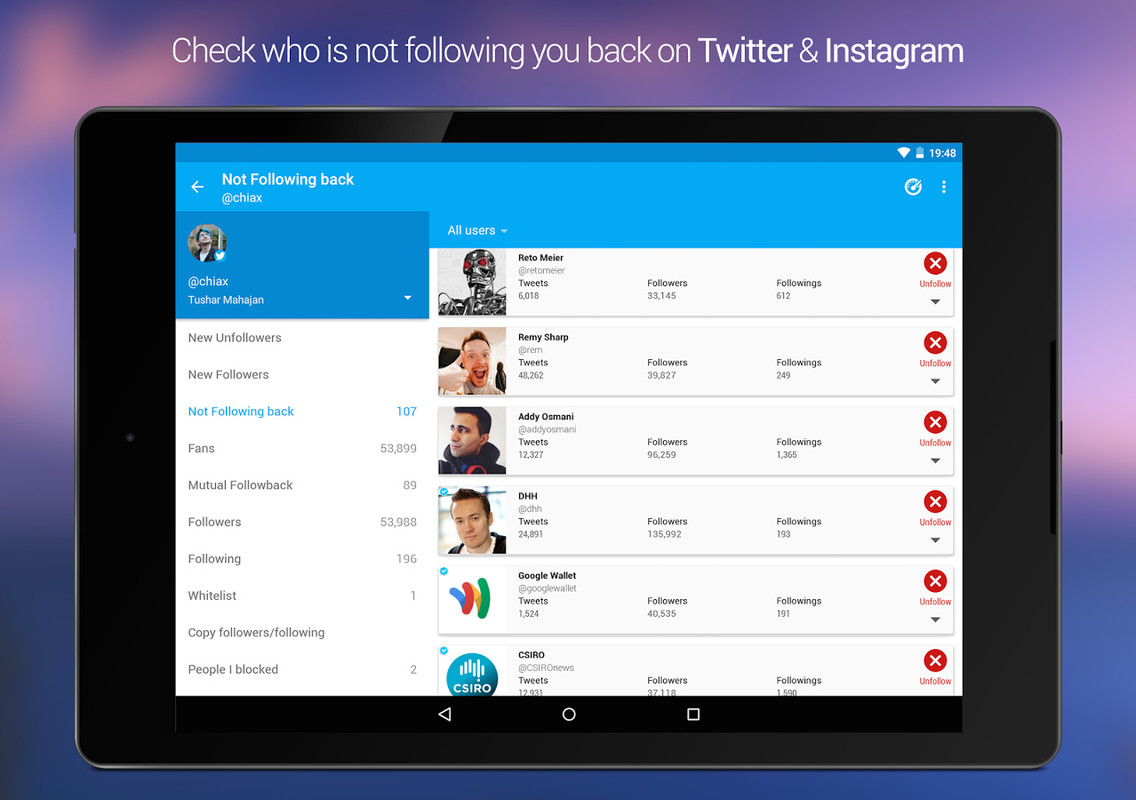 Unfollowers, Instagram Twitter Free Android App download