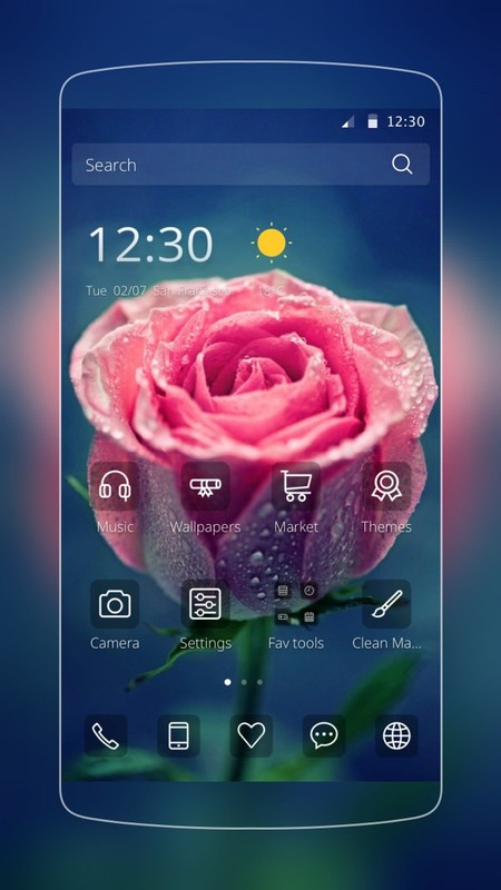 Pink Rose Love Theme Free Android Theme download - Download the Free