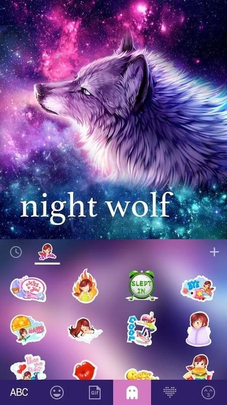 Night Wolf Kika Keyboard Theme Free Android Theme download