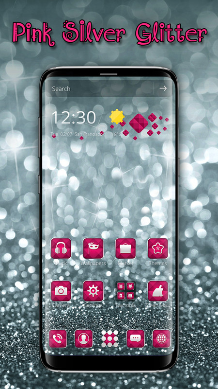 Silver Pink Glitter launcher for Galaxy S8 lovers Free