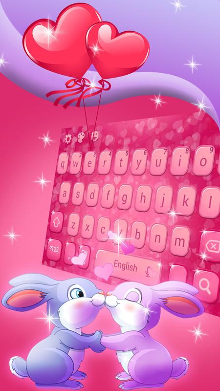 Cute Romantic Bunny in love Emoji keyboard Free Android