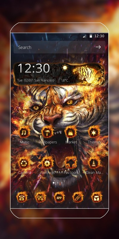 Fire Tiger Theme Free Android Theme download - Download the