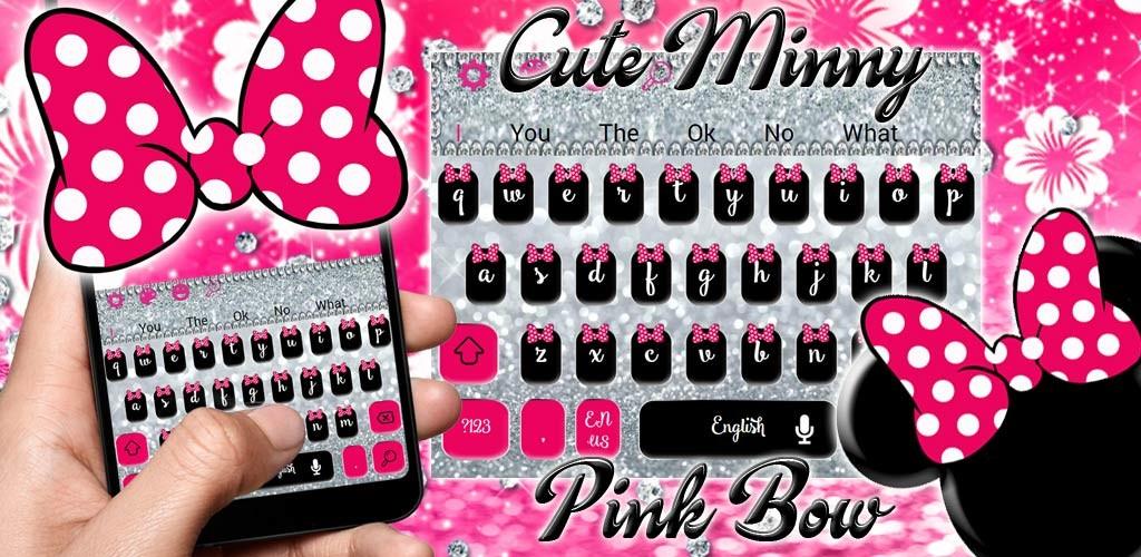 Cute minny pink bow silver diamond keyboard theme free android theme cute minny pink bow silver diamond keyboard theme voltagebd Choice Image