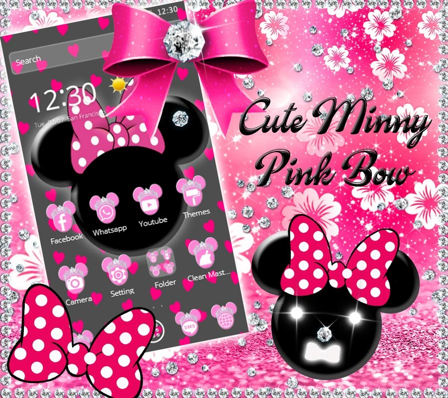 Pink black minny bow theme free android theme download download pink black minny bow theme voltagebd Choice Image