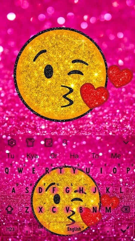 Cute Golden Pink Glitter Emoji Keyboard Free Android Theme