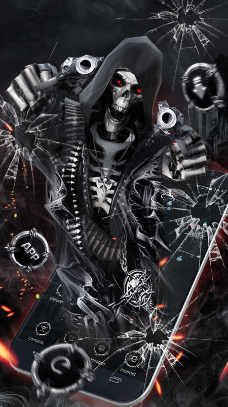3D Death Skull Gun Theme Free Android Theme download - Download the