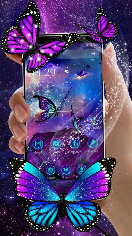 3D purple Galaxy butterfly Launcher Theme Free Android Theme