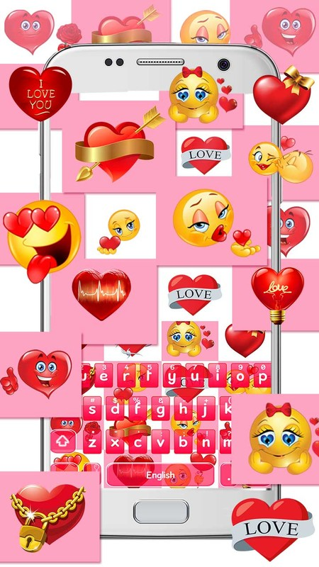 Love Emoticons Stickers Keyboard Free Android Theme download