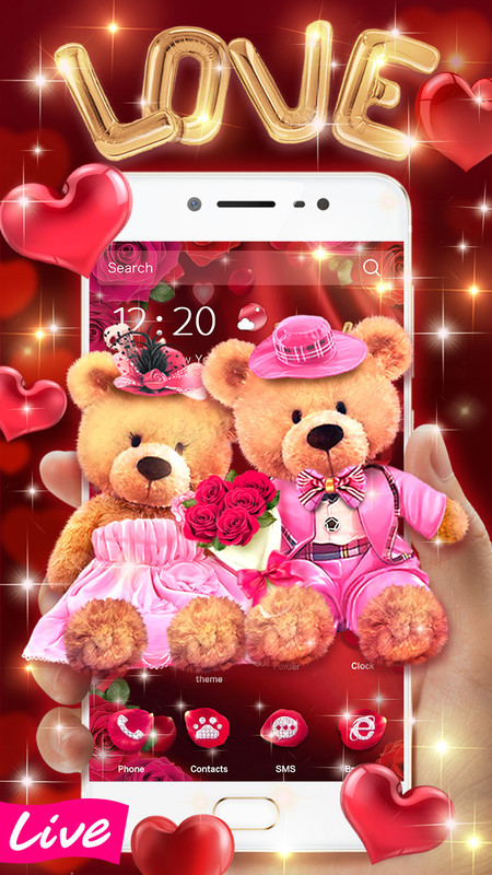 3D Love Bear Couple Theme Free Android Theme download