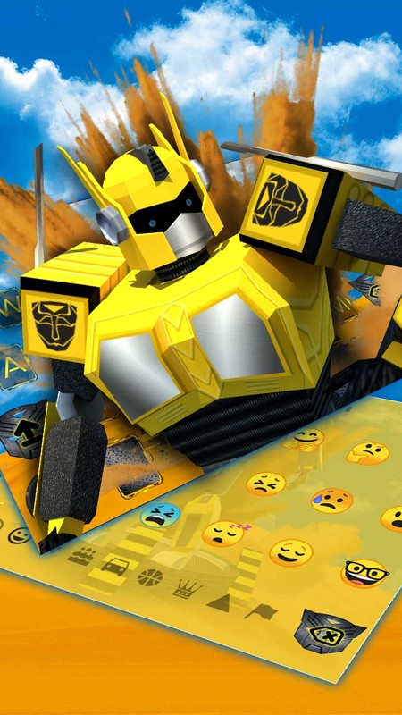 3D Yellow Car Robot keyboard Free Android Theme download