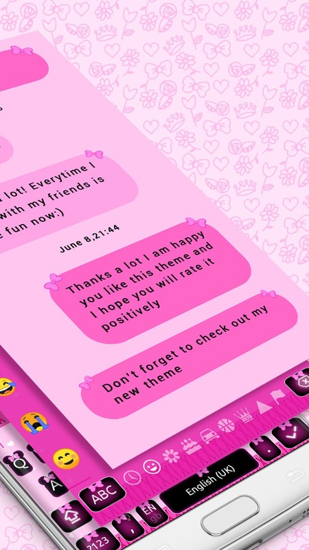 SMS Messaging Pink Minni Bow chat Keyboard Theme Free Android Theme