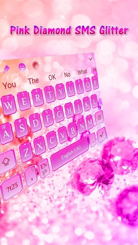 Pink Diamond SMS Glitter Keyboard Theme Free Android Theme