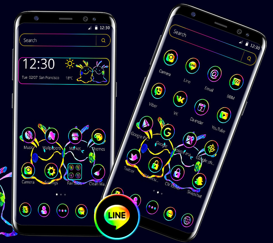 Neon Cartoon Launcher Theme Free Android Theme Download Download The Free Neon Cartoon Launcher Theme Theme To Your Android Phone Or Tablet