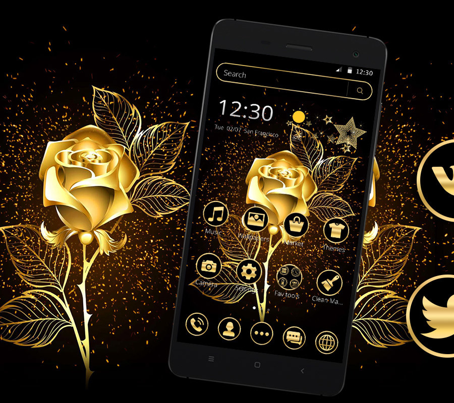 Luxury Golden Rose Launcher Theme🥀 Free Android Theme