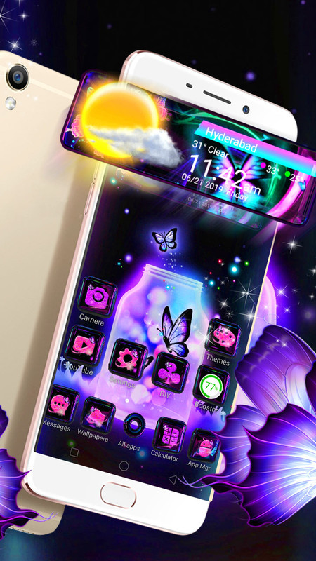 3D Neon Butterfly Glass Tech Theme ✨ Free Android Theme download
