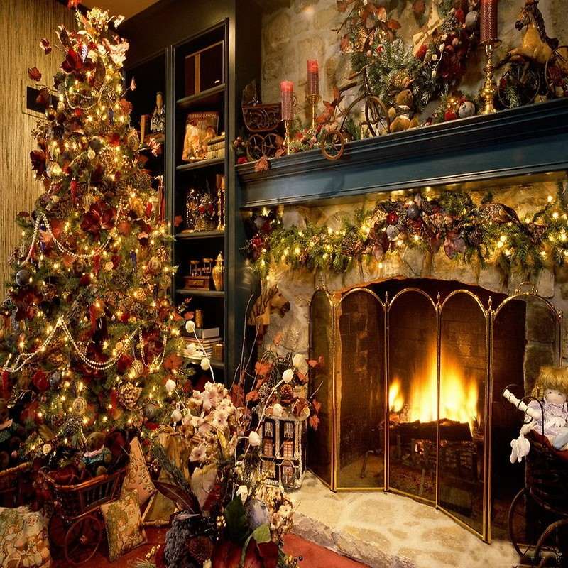 Christmas Tree Fireplace Free Wallpaper Download