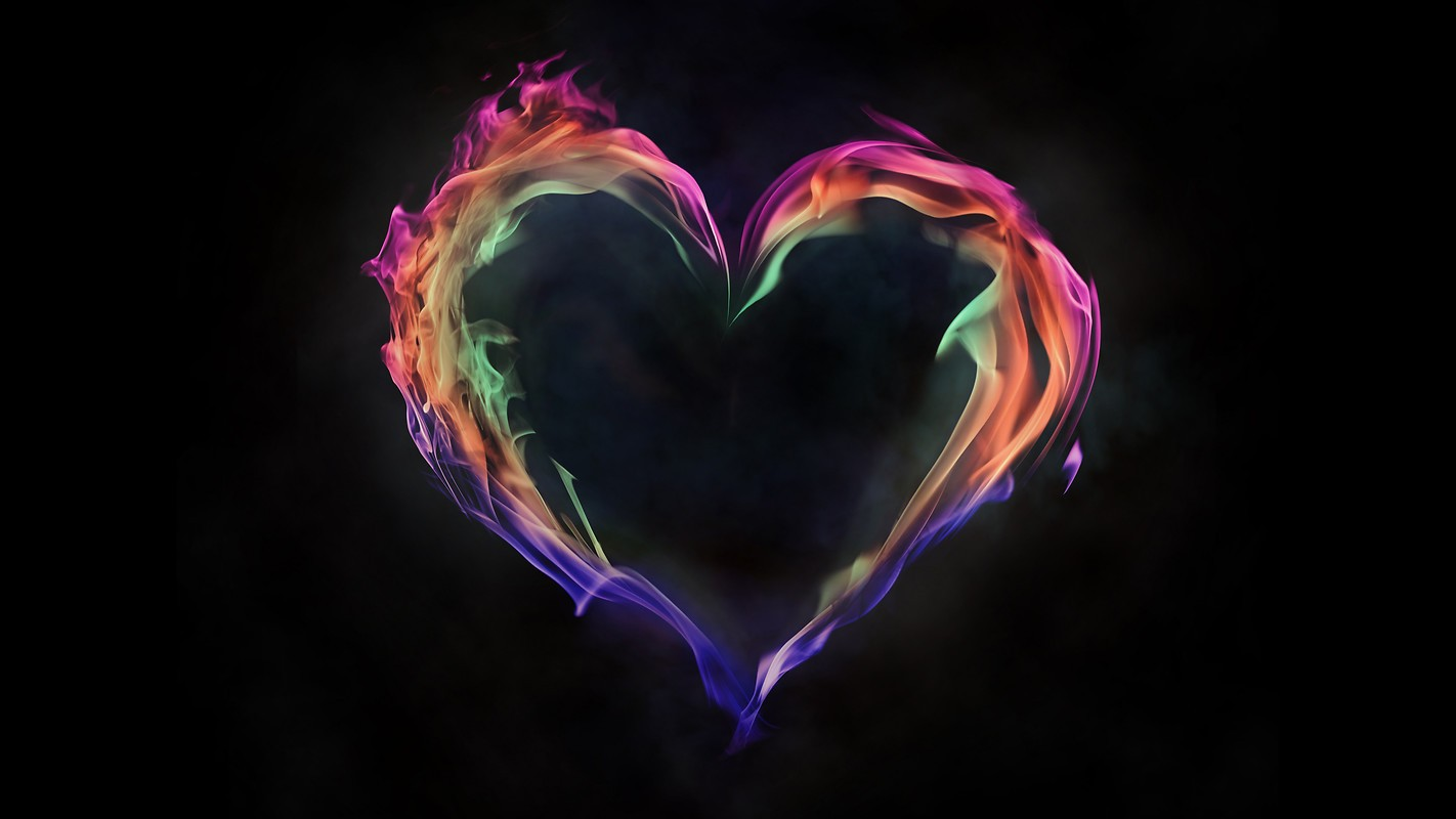 Neon Flame Heart Free Wallpaper Download Download Free