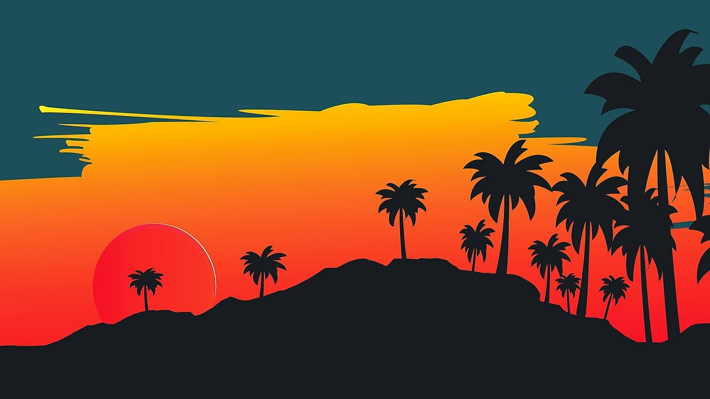 Summer Palm Tree Sunset Retrowave Free Wallpaper Download Download Free Summer Palm Tree Sunset Retrowave Hd Wallpapers To Your Mobile Phone Or Tablet