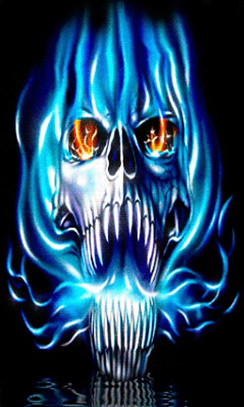 blue flames skull flame - photo #6