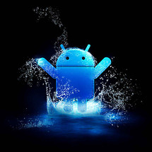 Cute Android Playing Water