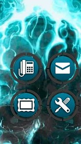 Blue Fire Skull CLauncher Theme