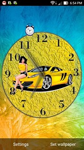 Yellow Car Pinup Babe Clock Desktop Theme