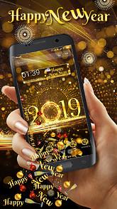 2019 golden shiny celebration new year gravity theme