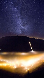 Milky Way And Fog Covered Valley