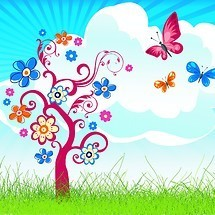 Summer Flower Tree Vector