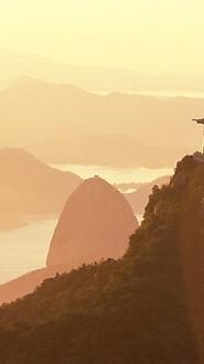 Corcovado Mountain And Sugarloaf Mountain In Distance, Rio De Janeiro, Brazil