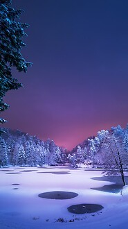 Beautiful Frozen Lake At Night