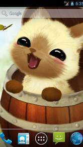 Kitten In A Barrel Live Wallpaper