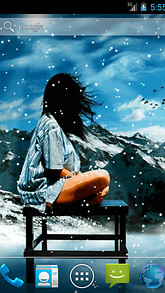 Girl Under Snow Live Wallpaper