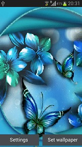 Blue Flower Butterfly LWP
